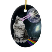 Bioworld Laser Eyes Space Cat Ceramic Ornament