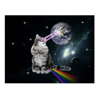 Bioworld Laser Eyes Space Cat Postcard