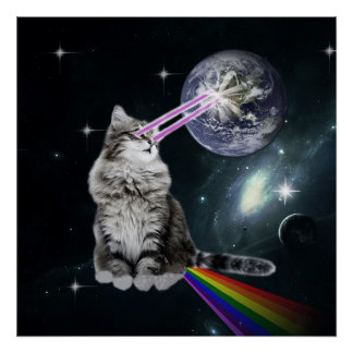 Bioworld Laser Eyes Space Cat Poster