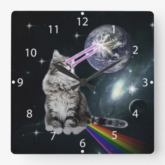 Bioworld Laser Eyes Space Cat Square Wall Clock