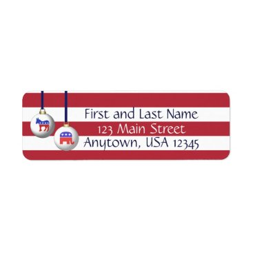 USA Themed Bipartisan Red White and Blue Patriotic Christmas Label
