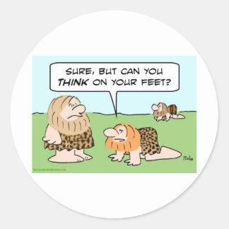 biped caveman think on feet classic round sticker