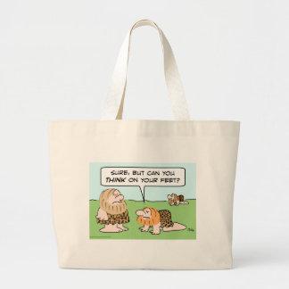 biped caveman think on feet tote bag
