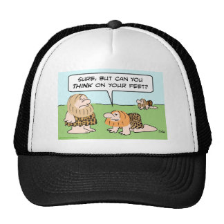 biped caveman think on feet trucker hat