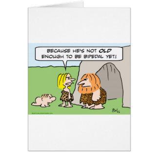 bipedal caveman baby old enough card