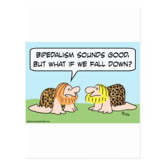 bipedalism caveman fall down postcard