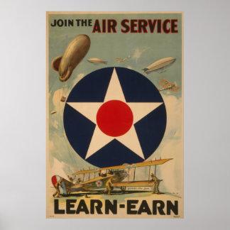 Biplane Airplane Blimp Air Service WWI Poster