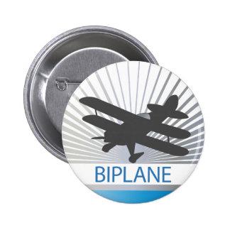 Biplane Airplane Pinback Buttons