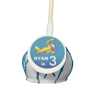 Biplane Airplane Kids Birthday Party | blue yellow Cake Pops