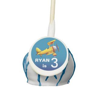 Biplane Airplane Kids Birthday Party   blue yellow Cake Pops
