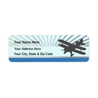 Biplane Airplane Label