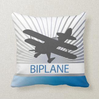 Biplane Airplane Throw Pillow