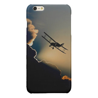 Biplane and sunset glossy iPhone 6 plus case
