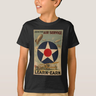 Biplane Blimp Airship Airplane Vintage Art T-Shirt