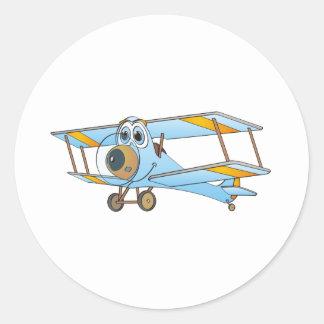 Biplane Blue Cartoon Classic Round Sticker