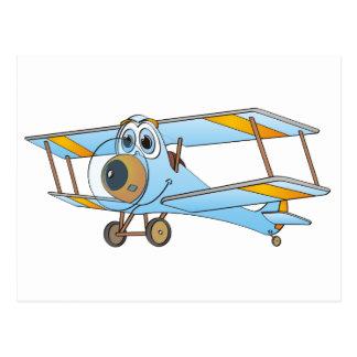 Biplane Blue Cartoon Postcard