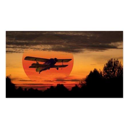 Vintage Biplane at Sunset Visiting Cards