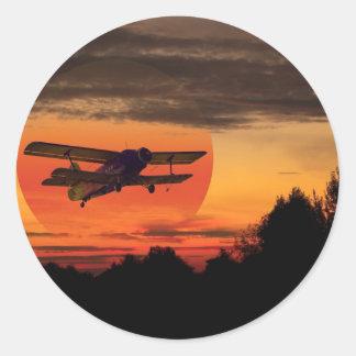 biplane classic round sticker