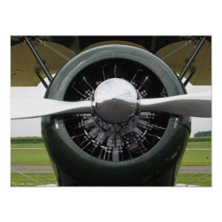 Biplane Engine Poster