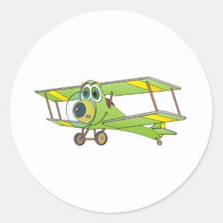 Biplane Green Cartoon Classic Round Sticker