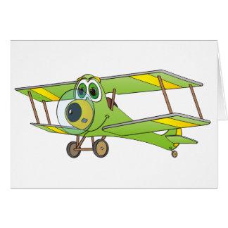 Biplane Green Cartoon Greeting Card