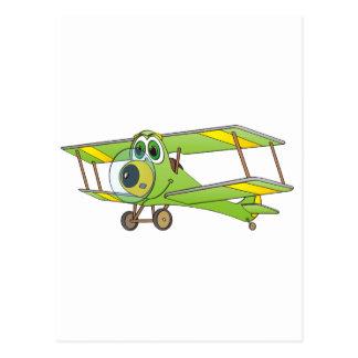 Biplane Green Cartoon Postcard