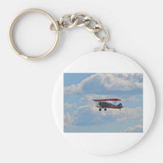 Biplane in Flight Basic Round Button Keychain