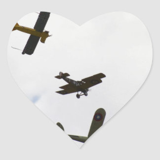 Biplane Models Heart Sticker