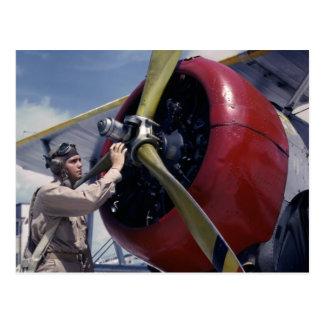 Biplane Pre-Flight Check 1940s Postcard