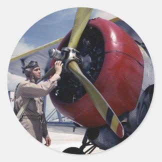 Biplane Pre-Flight Check, 1940s Classic Round Sticker
