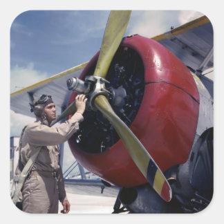 Biplane Pre-Flight Check, 1940s Square Sticker