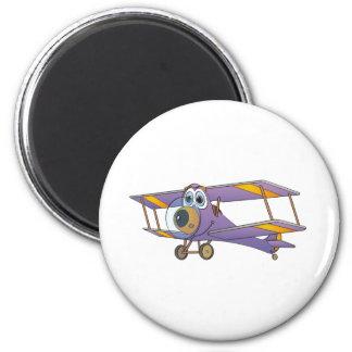 Biplane Purple Cartoon 2 Inch Round Magnet