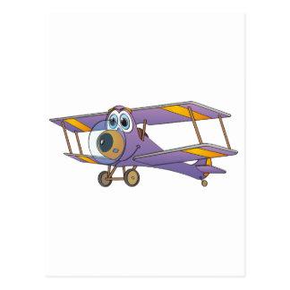 Biplane Purple Cartoon Postcard