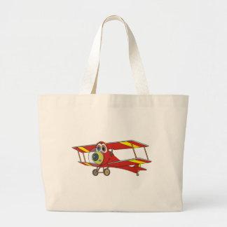 Biplane Red Cartoon Canvas Bags