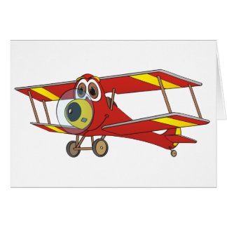 Biplane Red Cartoon Card