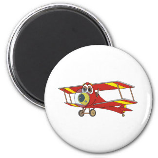 Biplane Red Cartoon Magnet