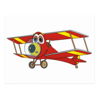 Biplane Red Cartoon Postcard