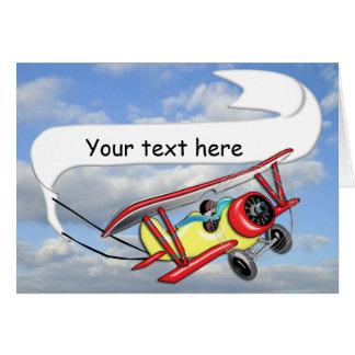 Biplane Towing Banner Customizable Card