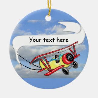 Biplane Towing Banner Customizable Christmas Ornament