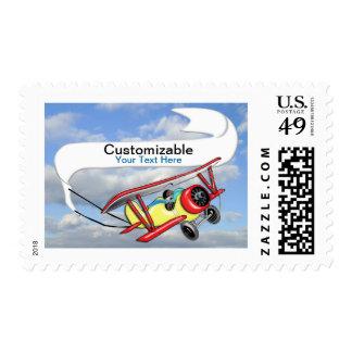 Biplane Towing Banner Customizable Postage