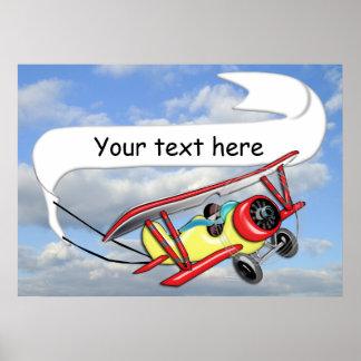 Biplane Towing Banner Customizable Poster