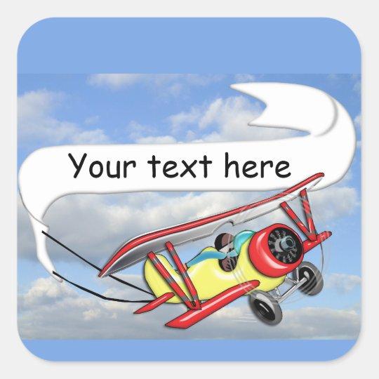Biplane Towing Banner Customizable Square Sticker