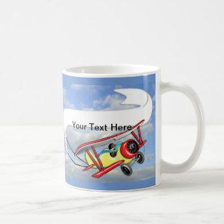 Biplane Towing Banner Customize Coffee Mugs