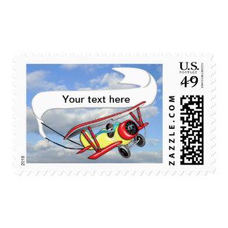 Biplane Towing Banner Customize Postage Stamp