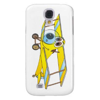 Biplane Yellow Cartoon Galaxy S4 Cover