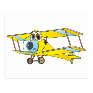 Biplane Yellow Cartoon Postcard