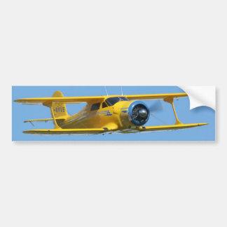 biplano amarillo pegatina para auto