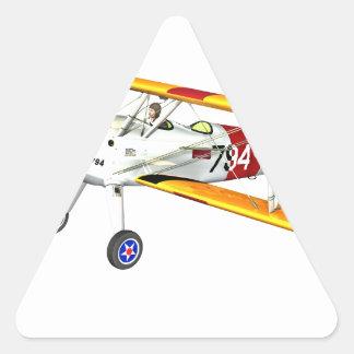 Biplano blanco y amarillo rojo del entrenamiento pegatina triangular