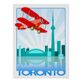 Biplano canadiense sobre el diseño retro de Toront Posters
