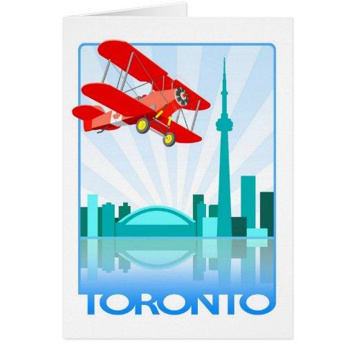 Biplano canadiense sobre el diseño retro de Toront Felicitacion